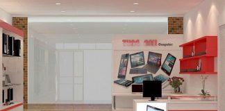 Thiết kế cửa hàng máy tính 35m2